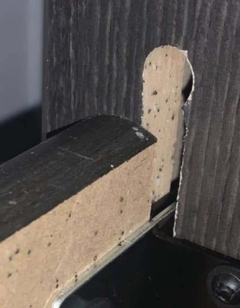 Fecal matter from bed bugs on a wooden bed frame.